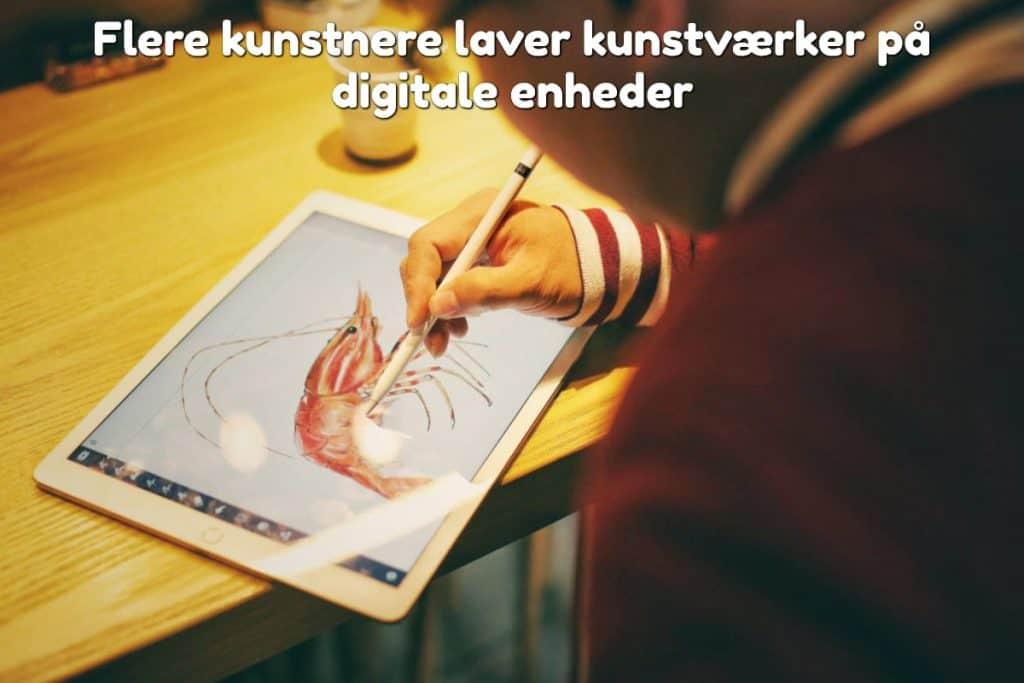 Flere kunstnere laver kunstværker på digitale enheder